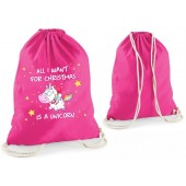 """Statement-Turnbeutel """"All I want for christmas is a unicorn"""""""