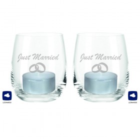 "Leonardo Windlicht-Set ""Just Married"" (mit Ringen)"